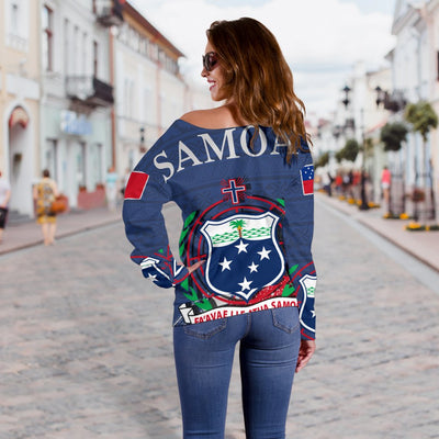 polynesian samoa island with flag shoulder sweater