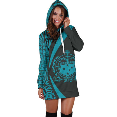 Samoa Polynesian Circle Style Blue Color Hoodie Dress - luxamz