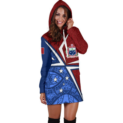 Samoa Flag with Polynesian Patterns Hoodie Dress