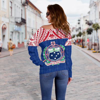 Samoa Polynesian Blue and Red Pattern Women's Off Shoulder Sweater - luxamz
