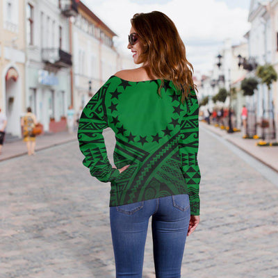 Cook Islands Lift Up Green Shoulder Sweater