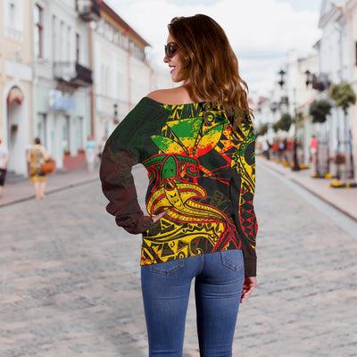 Hawaii Red Shark Polynesian Tattoo Color Women's Off Shoulder Sweater