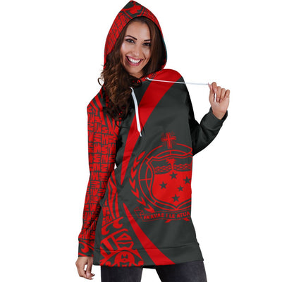 Samoa Polynesian Circle Style Red Color Hoodie Dress