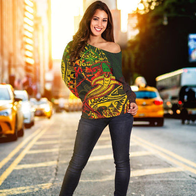 Guam Red Shark Polynesian Tattoo Color Women's Off Shoulder Sweater