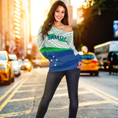 Samoa Flag Turtle Tattoo Shoulder Sweater - luxamz