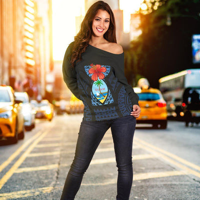 Guam Coat Of Arms Latte Stone Shoulder Sweater - luxamz