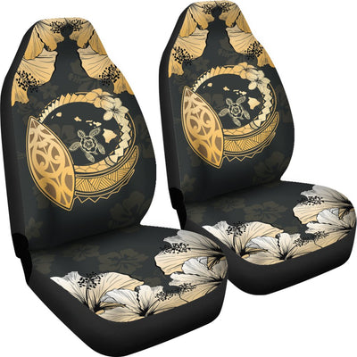 Hawaiian Map Hibiscus Plumeria Turtle Polynesian Car Seat Covers