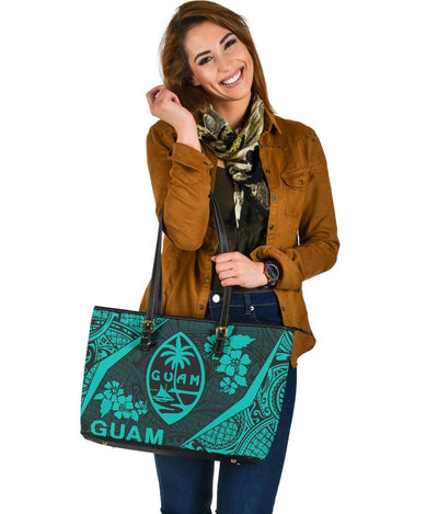 Guam Polynesian Hibiscus Leather Tote Bag
