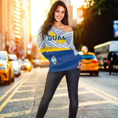 Guam Flag Turtle Tattoo Shoulder Sweater - luxamz