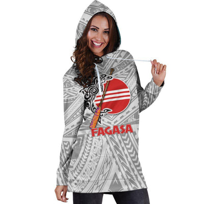 Fagasa American Samoa Pattern Gray Hoodie Dress