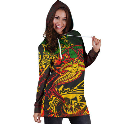 Guam Red Shark Polynesian Tattoo Color Hoodie Dress - luxamz
