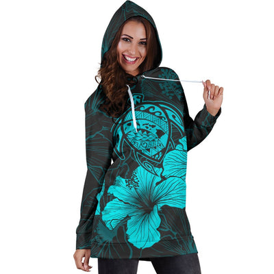 Hawaii Hawaiian Polynesian Turquoise Hoodie Dress