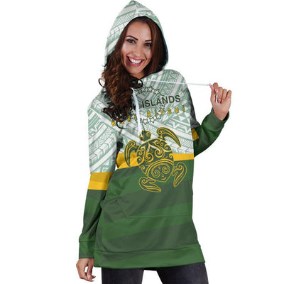 Cook Islands Flag Turtle Tattoo Hoodie Dress