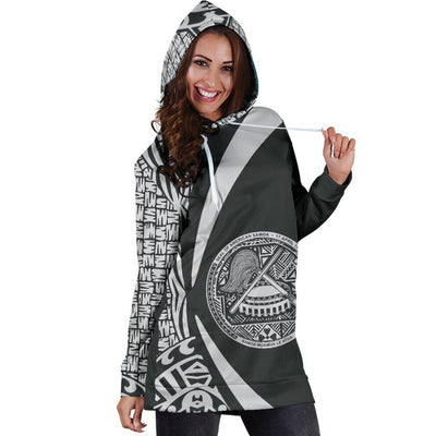 American Samoa Polynesian Tribal Circle Style White Color Hoodie Dress