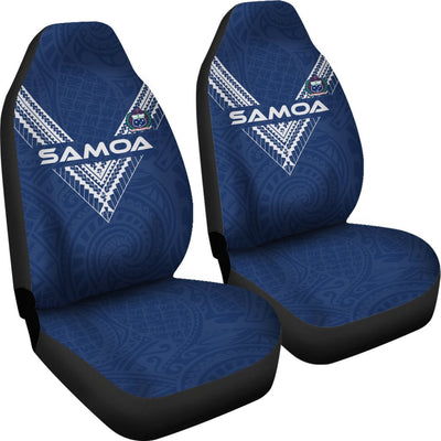 Samoa Polynesian Logo Pattern BLue Color Car Seat Covers