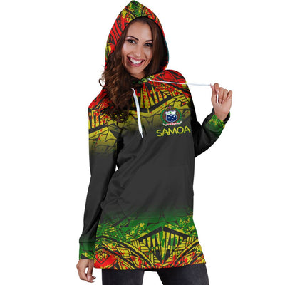 Samoa Polynesian Turtle Tattoo Fog Reggae Hoodie Dress - luxamz