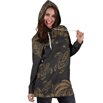 Hawaii All Over Polynesian Gold Sea Turtle Tattoo Hoodie Dress