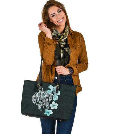 Hibiscus Plumeria Mix Polynesian Turquoise Turtle Large Leather Totes - luxamz