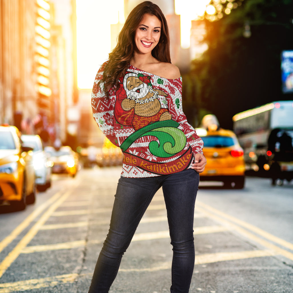 Hawaiian Christmas Santa Surfing Off Shoulder Sweater