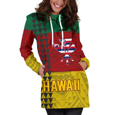 Hawaii Kanaka Flag Hoodie Dress