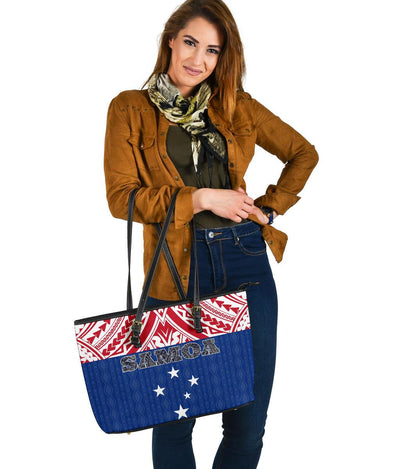 Samoa Polynesian Blue and Red Pattern Large Leather Totes