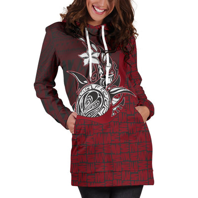 Samoa Polynesian Turtle with Hook Red Hoodie Dress