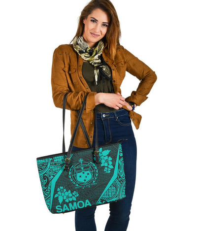 Samoa Polynesian Hibiscus Leather Tote Bag