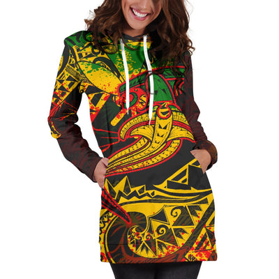 Hawaii Red Shark Polynesian Tattoo Color Hoodie Dress