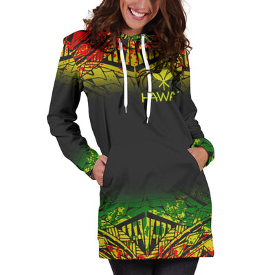 Hawaii Polynesian Turtle Tattoo Fog Reggae Hoodie Dress