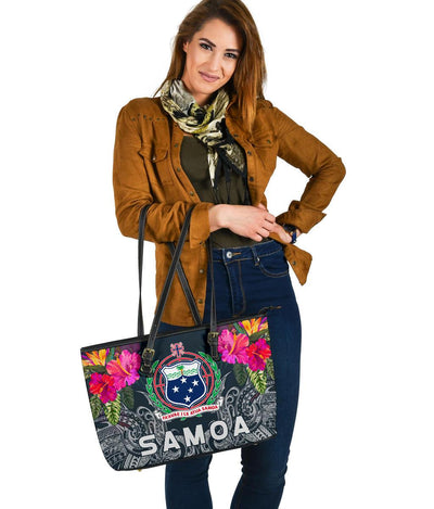 Samoan Polynesian With Hibiscus  Leather Tote Bag - luxamz