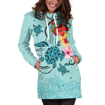 Hawaiian Sea Turtle Hibiscus Brilliant Polynesian Hoodie Dress