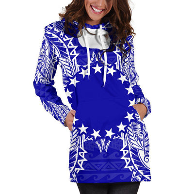 Polynesian Cook Islands Blue Hoodie Dress