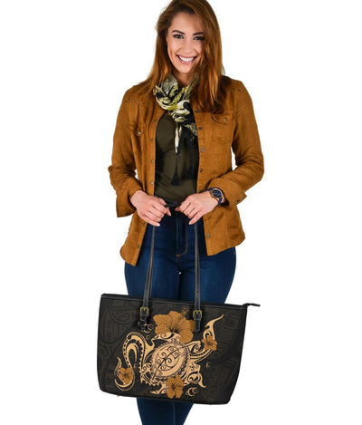 Hawaii Turtle and Hibicus Flower Polynesian Large Leather Tote - luxamz