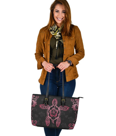 Hawaii Turtle Large Leather Tote