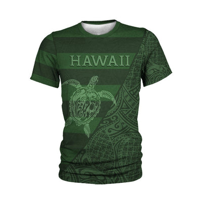 Hawaii Turtle lover bright green Polynesian culture flag Style All Over Print - luxamz