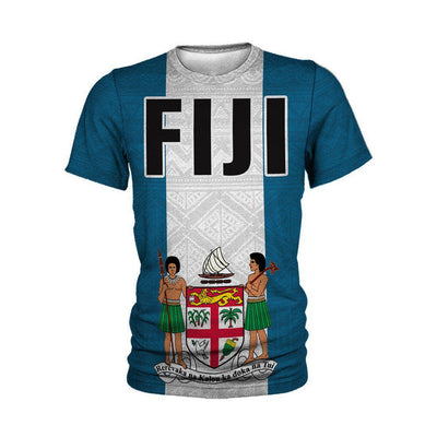 Fiji Polynesian Flag And Coat Of Arm All Over Print - luxamz