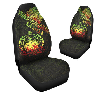 Samoa Custom Polynesian Patterns With Coat of Arms Reggae Color Car Seat Cover