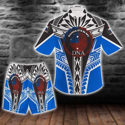 SAMOA IT_S IN MY DNA COLOR BLUETAIL beach Shirt and Short all over print