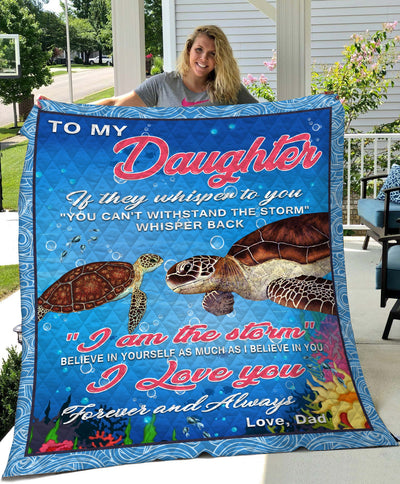 To My Daughthter Turtle Blanket All Over Printed