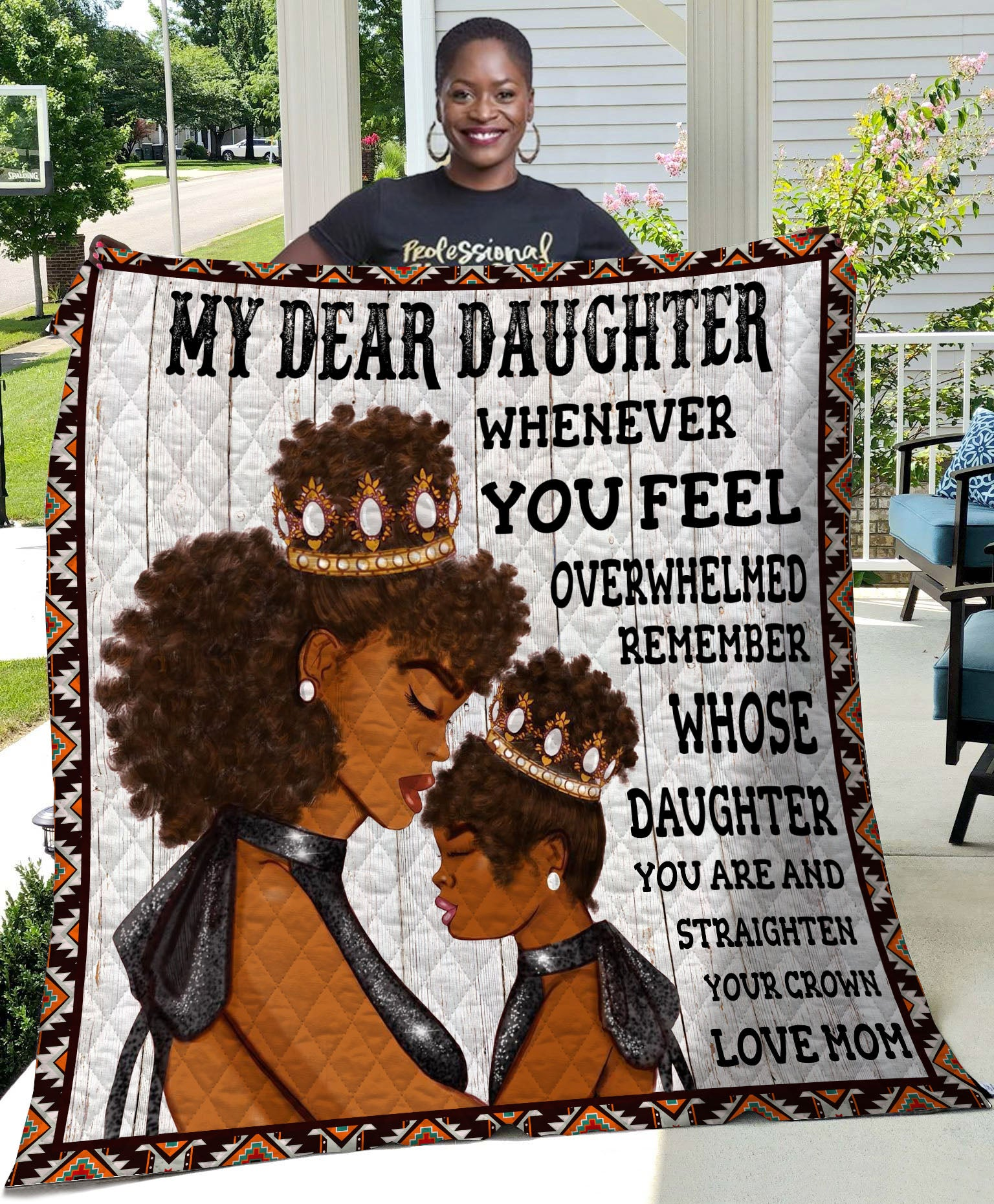 Customized Black Mom And Daughter Black Family Quilt - luxamz