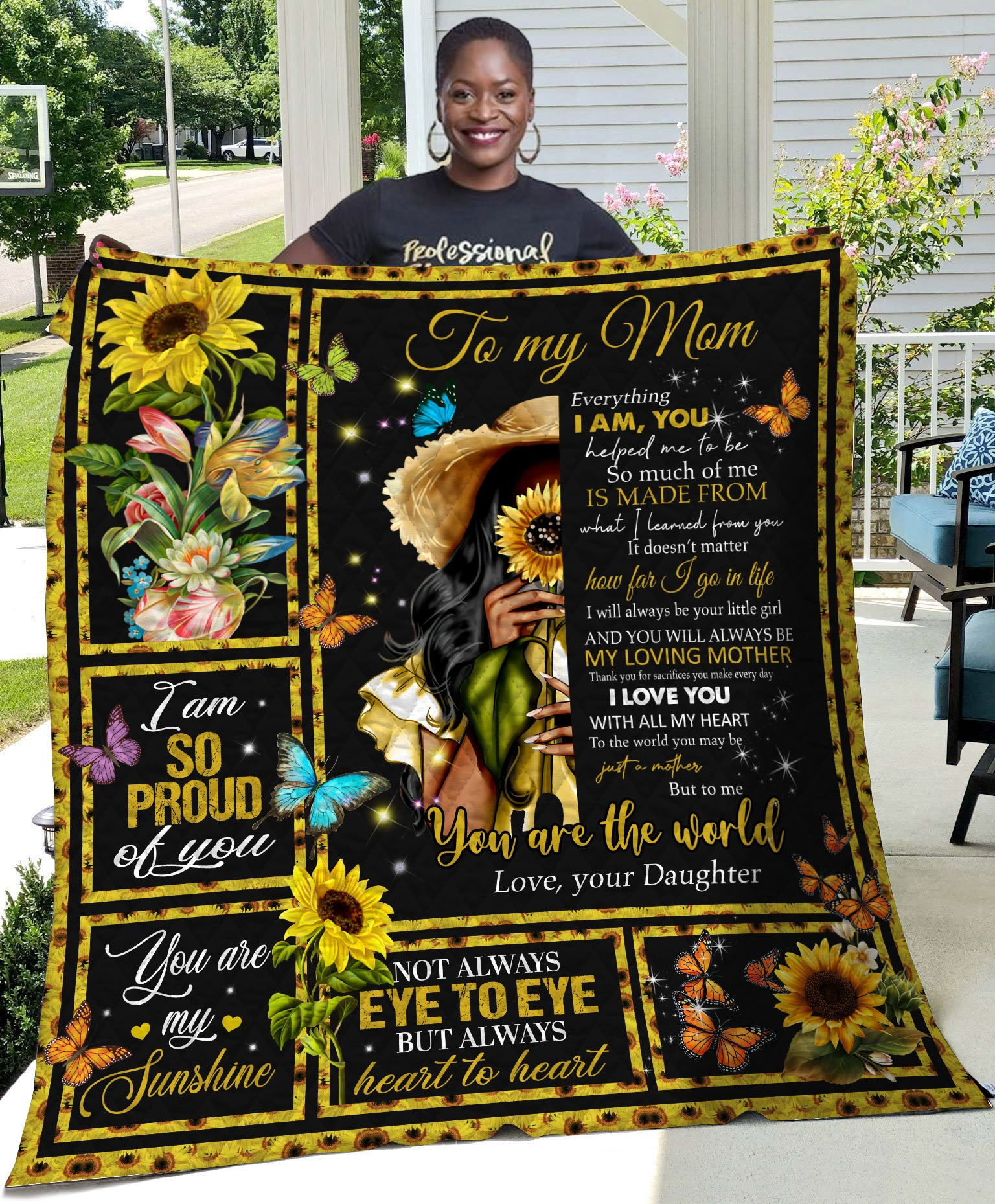Sunflower To My Mom Everything I Am -Daughter Quilt - luxamz