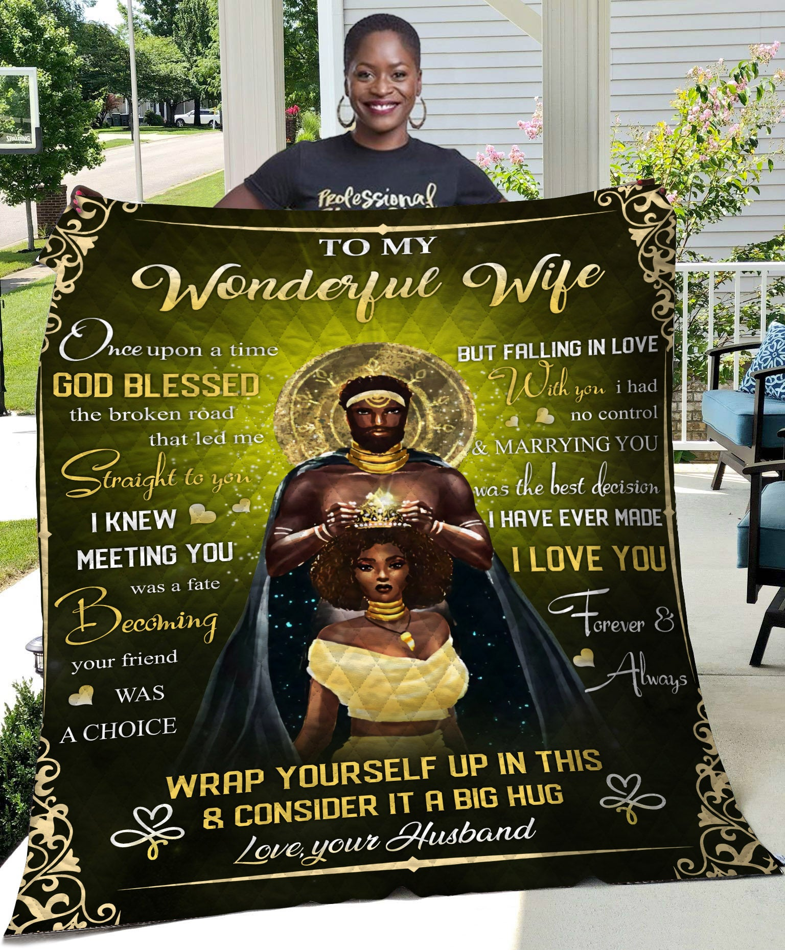 Black Couple To Wife Once Upon A Time God Blessed Quilt - luxamz