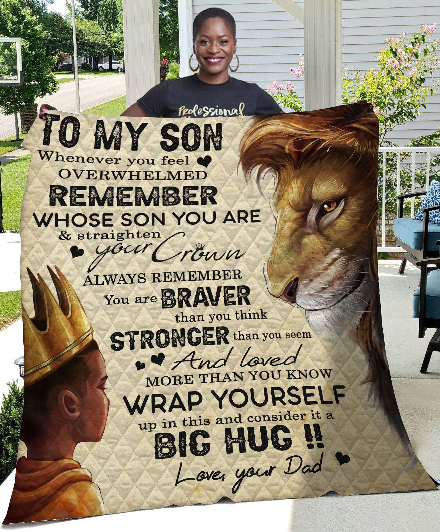 Lion To My Son Never Forget I Love You-Mom Quilt