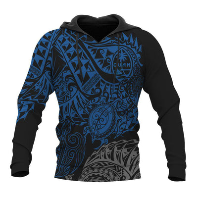 Guam Polynesian Gold Turtle Flowing Blue all ovueer print - luxamz