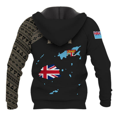 Fiji Flag Map Style Black All Over Print