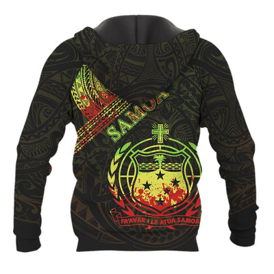 Samoa Custom Polynesian Patterns With Coat of Arms Reggae Color All Over Print