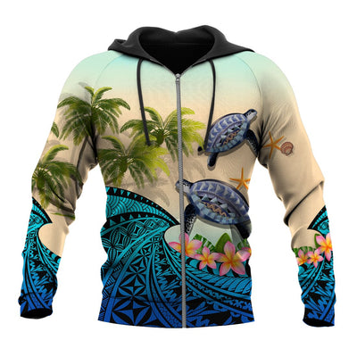 Kanaka Maoli Hawaiian- Polynesian Turtle Coconut tree And Plumeria all over print - luxamz