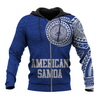 American Samoa Polynesian Logo Tattoo Style Blue all over print