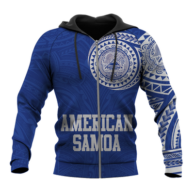 American Samoa Polynesian Logo Tattoo Style Blue all over print - luxamz