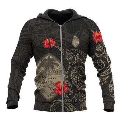 Guam Hoodie Hibiscus Tattoo Style polynesians All Over Print